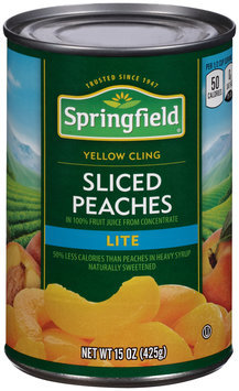 Springfield® Lite Yellow Cling Sliced Peaches 15 oz. Can