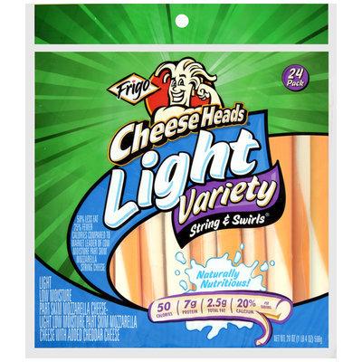 Frigo® Cheese Heads® Light Variety String & Swirls Cheese Sticks 24 ct. Bag