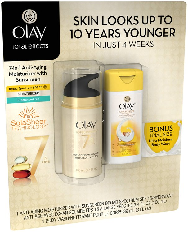 Total Effects Olay Total Effects 7-in-1 Anti-Aging Moisturizer SPF15 -3.4oz with 3oz Trial Size Olay Body Wash