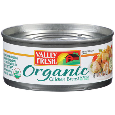 Valley Fresh® Organic Chicken Breast in Water with Rib Meat 5 oz. Can.