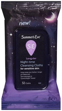 Summer's Eve® Lavender Night-time Cleansing Cloths for Sensitive Skin 32 ct Pouch