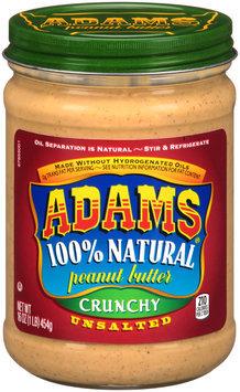 Adams® 100% Natural Unsalted Crunchy Peanut Butter 16 oz. Jar