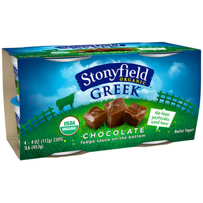 Stonyfield Organic™ Greek Chocolate Fudge Sauce on the Bottom Nonfat Yogurt 4-4 oz. Cups