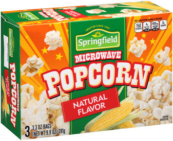 Springfield® Natural Flavor Microwave Popcorn 9.9 oz. Box