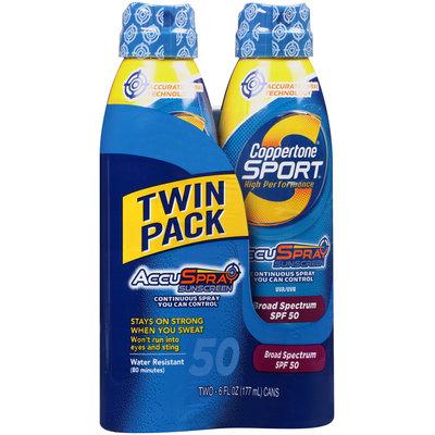 Coppertone® Sport® AccuSpray™ Broad Spectrum SPF 50 Sunscreen Spray 2–6 fl. oz. Aerosol Cans