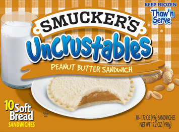 Smucker's Peanut Butter Sandwich 17.2 Oz Uncrustables Soft Bread Sandwiches 10 Ct Box