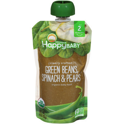 Happy Baby® Organics Clearly Crafted  Green Beans, Spinach & Pears Organic Baby Food 4 oz. Pouch