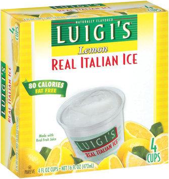 Luigi's Lemon Cups 4 Oz Real Italian Ice 4 Ct Box