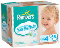 Pampers Swaddlers Sensitive Super Pack Size 4 Diapers 66 ct Box