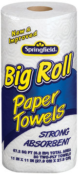 Springfield Big Roll Strong Absorbent 2-Ply Paper Towels 80 Ct Wrapper