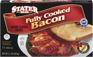 Stater Bros. Fully Cooked Smoke Flavor Added Bacon 2.1 Oz Box