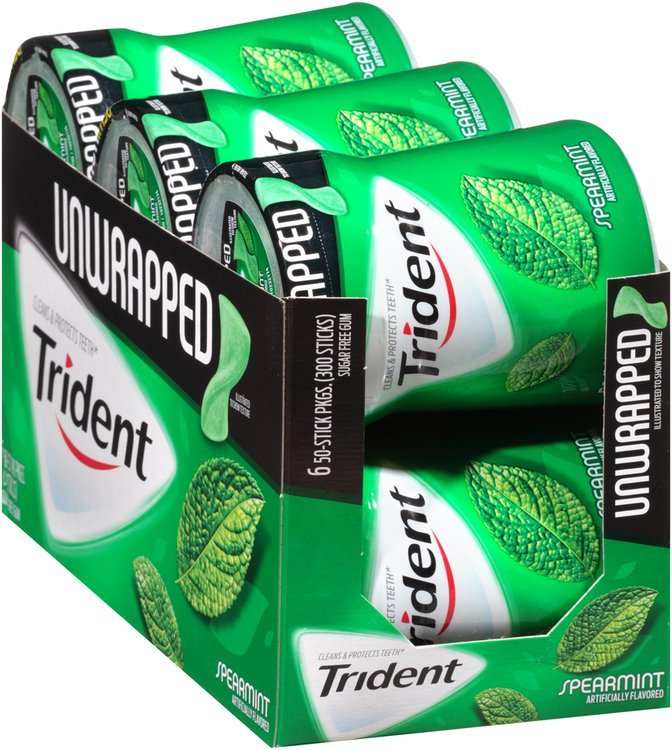 Trident Unwrapped Spearmint Sugar Free Gum with Xylitol 6-50 Stick Bottles