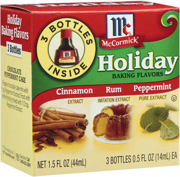 McCormick® Holiday Baking Flavors Cinnamon/Rum/Peppermint Extracts 3-0.5 Bottles.