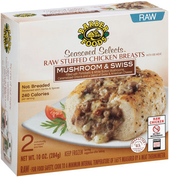 Barber Foods® Seasoned Selects™ Mushroom & Swiss Raw Stuffed Chicken Breasts 2 ct Box