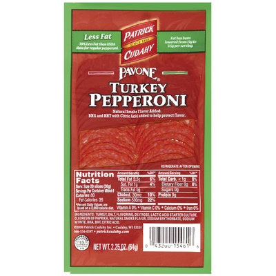 PATRICK CUDAHY Retail Pavone Turkey Pepp Pepperoni - Retail 2.25 OZ PEG