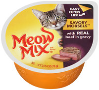Meow Mix Savory Morsels with Real Beef in Gravy Wet Cat Food, 2.75-Ounce Cup