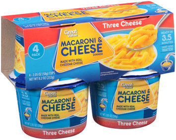 Great Value™ Macaroni & Cheese Dinner Three Cheese 4-2.05 oz Cups