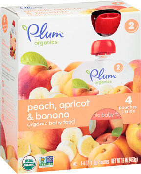 Plum Organics® Stage 2 Peach, Apricot & Banana Organic Baby Food 4-4 oz. Pouches