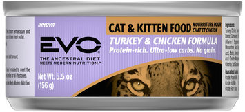 Evo® Turkey & Chicken Formula Cat & Kitten Food 5.5 oz. Can