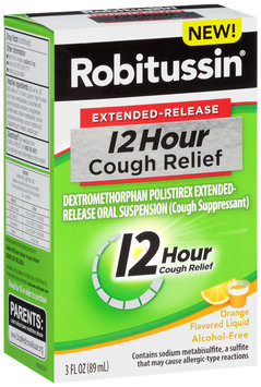 Robitussin® Extended-Release 12 Hour Orange Flavored Cough Relief Liquid 3 fl. oz. Box