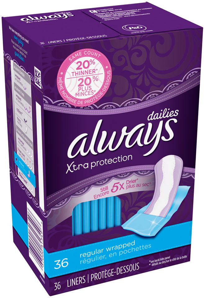 Xtra Protection Always Liners Xtra Protection Regular Dailies Wrapped, 36 Count