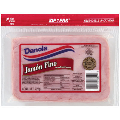 DANOLA Curado Con Agua Jamon Fino 227 G ZIP PAK