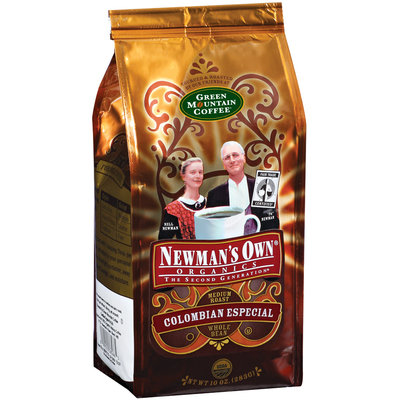 Newman's Own Colombian Especial Medium Roast Whole Bean Coffee Organics 10 Oz Stand Up Bag