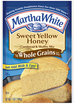 Martha White Sweet Yellow Honey Made W/Whole Grains Cornbread & Muffin Mix 7 Oz Packet
