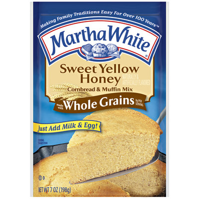 Martha White Sweet Yellow Honey Made W/Whole Grains Cornbread & Muffin Mix 7 Oz Packet
