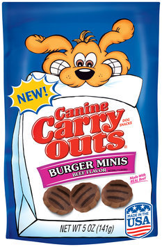 Canine Carry Outs Burger Minis Beef Flavor Dog Snacks 5 oz. Bag