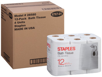 Staples® 2-Ply Double Rolls Bath Tissue 12 ct Pack
