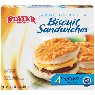 Stater Bros. Sausage Egg & Cheese 4 Ct Biscuit Sandwiches 18.1 Oz Box