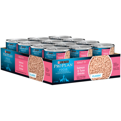 Purina Pro Plan Focus Adult 11+ Salmon & Tuna Entree Cat Food 24-3 oz. Pull-Top Can