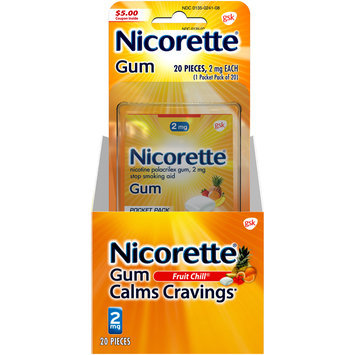 Nicorette® 2mg Fruit Chill® Stop Smoking Aid Gum 20 ct Carded Pack
