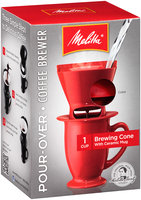Melitta® Pour-Over™ Brewer Single Cup Coffee Maker with Coffee Mug, Red