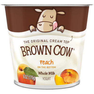 Brown Cow Peach on the Bottom Cream Top Yogurt 6 oz. Cup