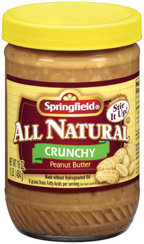 Springfield All Natural Crunchy Peanut Butter 16 Oz Jar