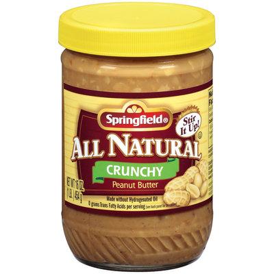 Springfield All Natural Crunchy Peanut Butter 16 Oz Jar