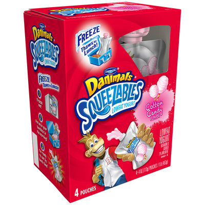 Dannon® Danimals® Squeezables Cotton Candy Lowfat Yogurt 4 pk Box