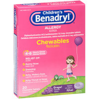 Children's Benadryl® Allergy Chewables Grape Flavored Tablets 20 ct Box