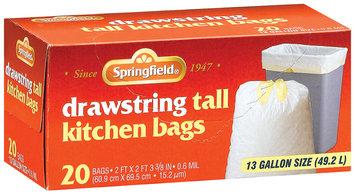 Springfield Kitchen Drawstring Tall White 13 Gal Bags 20 Ct Box