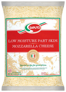 Saputo® Mozzarella Low Moisture Part Skim Shredded Cheese 5 Lb Bag