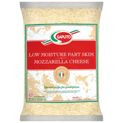 Saputo® Mozzarella Low Moisture Part Skim Shredded Cheese 5 Lb Bag