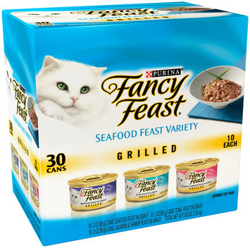 Purina Fancy Feast Grilled Seafood Feast Variety Cat Food 30-3 oz. Cans