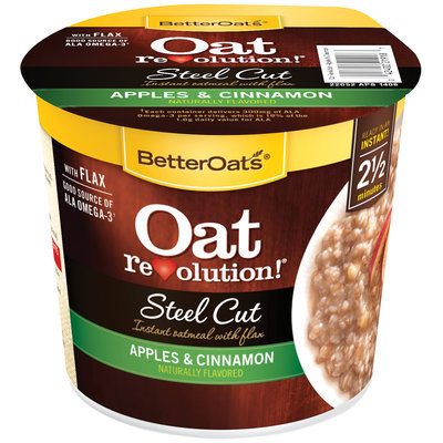 BetterOats® Oat Revolution!® Steel Cut Apples & Cinnamon Instant Oatmeal with Flax 1.95 oz. Cup