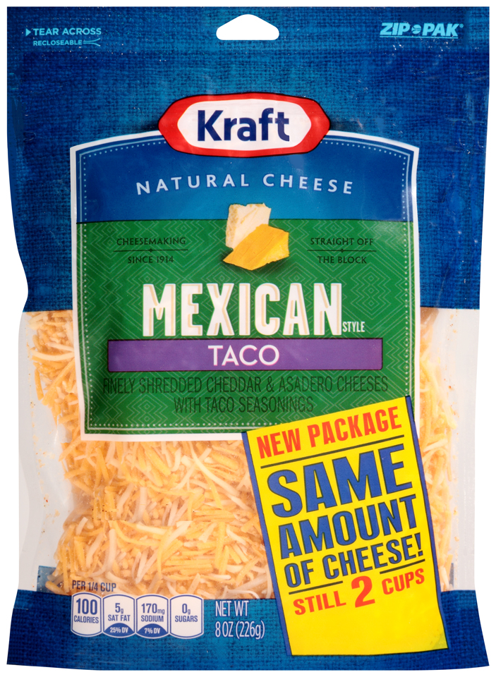 Kraft Shredded Mexican Style Taco Cheese 8 oz. ZIP-PAK®