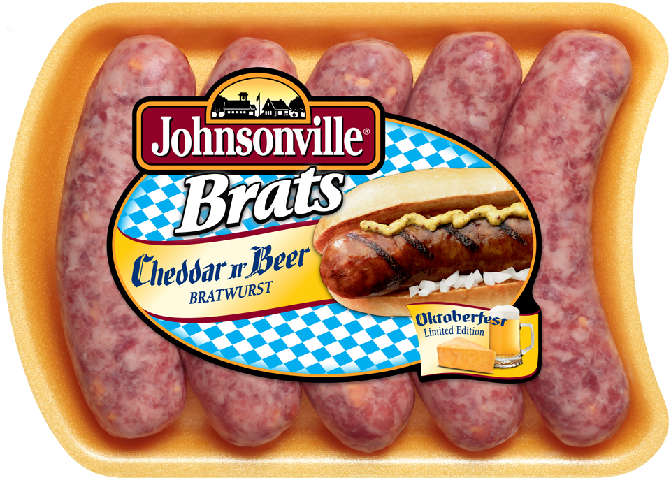 Johnsonville Cheddar & Beer Oktoberfest Brats  19oz tray  (101731)