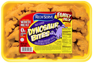 Redi-Serve Dynosaur Bites Breaded Dinosaur Shaped Chicken Breast Patties Fully Cooked 30 oz. Tray