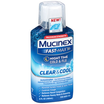 Mucinex® Fast-Max® Clear & Cool™ Maximum Strength Night Time Cold & Flu 6 fl. oz. Bottle