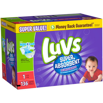 Stretch Luvs Super Absorbent Leakguards Newborn Diapers Size 1 136 count